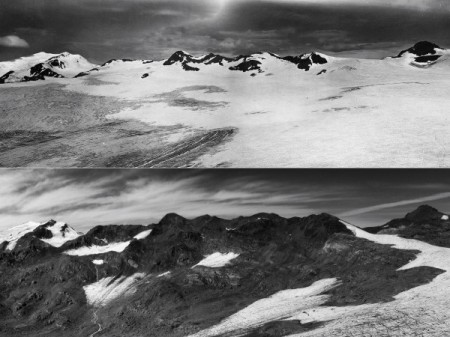 As a whole, the world's glaciers—such as Italy's Careser Glacier, seen here in August 1933 (top) and August 2012 (bottom)—have lost ice for the last 23 years in a row.